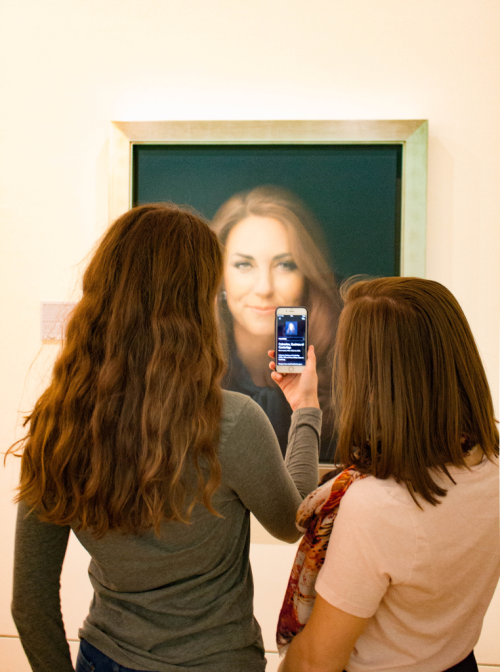 Smartify user scanning Paul Emsley's portrait of HRH The Duchess of Cambridge (2012)