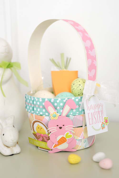 """Die Cut Easter Basket featuring the """"Easter"""" collection, designer dies, and Silhouette Shapes from #EchoParkPaper. Project by Jana Eubank"""