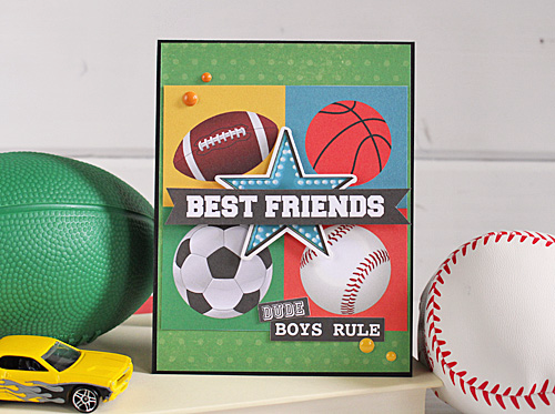 "Best friends card by  Kimberly Crawford featuring the ""Boy Cousins"" mini theme collection from #EchoParkPaper"