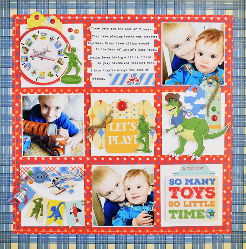 "Layout by Becki Adams featuring the ""Toy Box"" collection by #CartaBellaPaper"