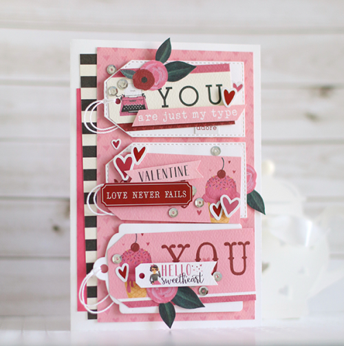 """Hello Sweetheart"" triple tag card by Anya Lunchenko for #CartaBellaPaper"