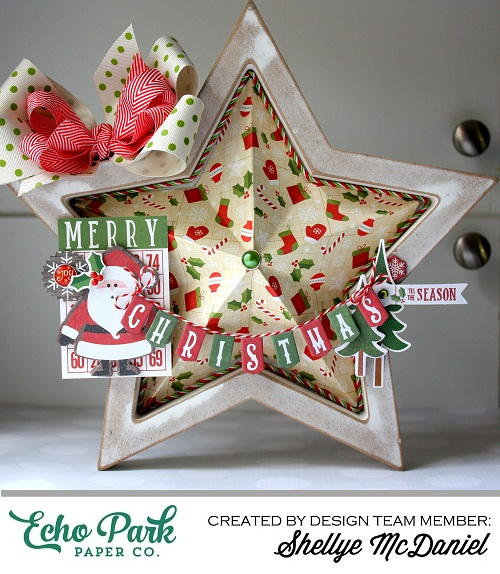 "Shellye McDaniel created this gorgeous 3D Star by altering a premade wooden star with the ""The Story of Christmas"" Collection by #EchoParkPaper"