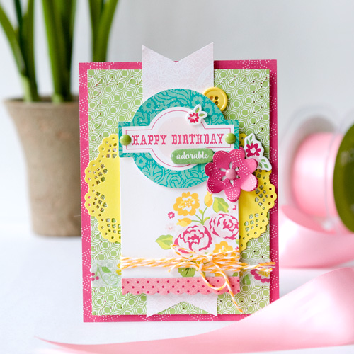 "Happy Birthday card by Tegan Skwiat featuring the ""Petticoats"" collection and designer dies by #EchoParkPaper"
