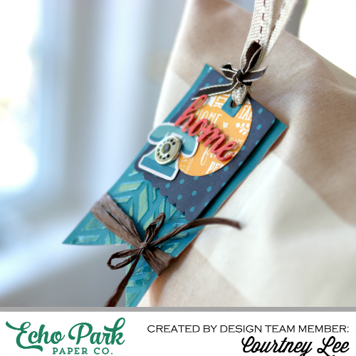 """Decorative Pillow and gift tag set by Courtney Lee with the """"The Story of Our Family"""" collection and Silhouette Cut Files from #EchoParkPaper"""