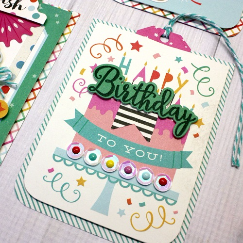 """DIY """"Party Time"""" tags by Shellye McDaniel with papers, embellishments, and designer dies by #EchoParkPaper"""