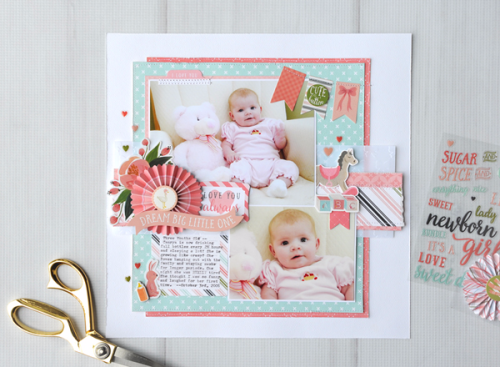 """Dream Big Layout by Jana Eubank with the """"Rock a Bye Baby Girl"""" Collection, Embossing Folder, and Mini Paper Fans by #CartaBellaPaper"""