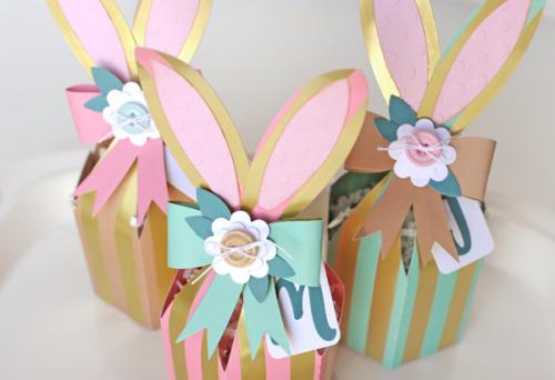 Foil Stripes Bunny Boxes by Jana Eubank for #EchoParkPaper