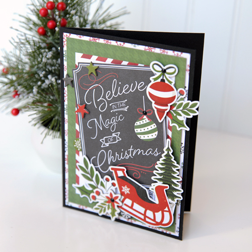 Christmas Card Inspiration Week: Believe in the Magic card by Jana Eubank for #EchoParkPaper and #CartaBellaPaper