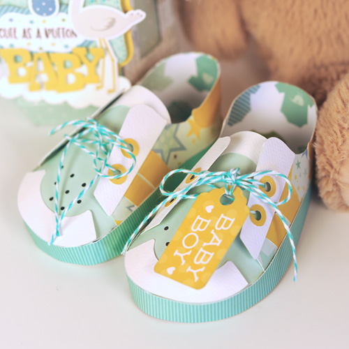 "Baby Bottle Box and Baby Shoes by Jana Eubank featuring the ""Sweet Baby Boy"" collection by #EchoParkPaper"