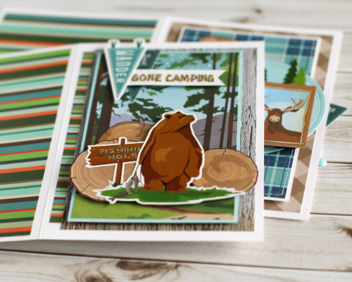 "Masculine card set by Anya Lunchenko with the ""Gone Camping"" collection by #CartaBellaPaper"