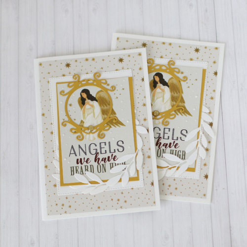 "Christmas Cards by Anya Lunchenko featuring the ""Oh Holy NIght"" collection by #EchoParkPaper. See how to create SIX cards in ONE hour on the #EchoParkPaper Blog!!"