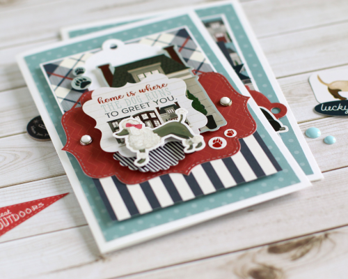 """""""Home is where the dog runs to greet you"""" card set by Anya Lunchenko featuring the """"A Dog's Tail"""" Collection by #EchoParkPaper"""