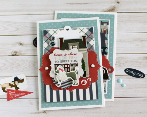 """Home is where the dog runs to greet you"" card set by Anya Lunchenko featuring the ""A Dog's Tail"" Collection by #EchoParkPaper"