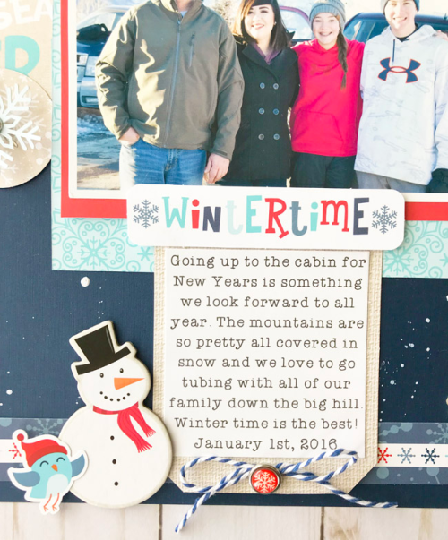 "Wintertime scrapbook layout by Tya Smith featuring the ""Celebrate Winter"" collection by #EchoParkPaper"