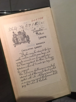 Toronto Public Library bookplate from 1921