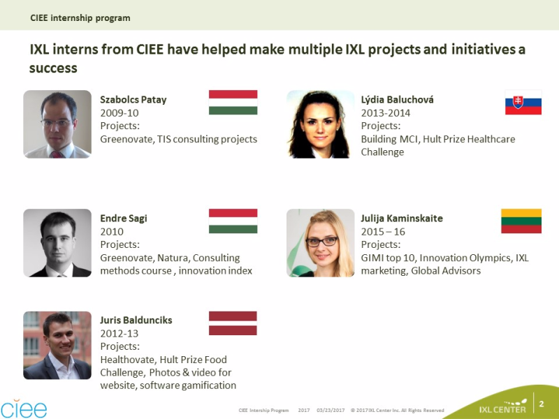 CIEE Intership program - IXL Interns