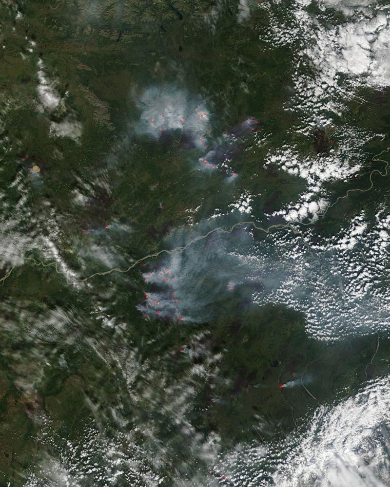 NASA image of Al;aska Wildfire