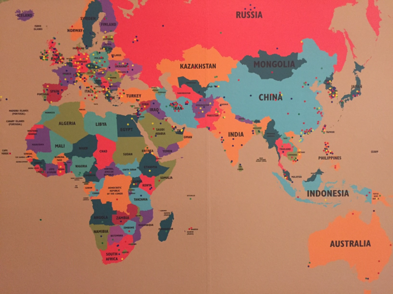 World map in Destination Canada (detail)