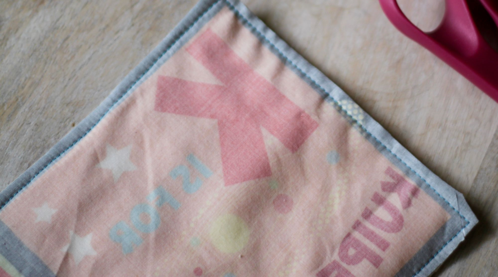 sew around border and trim the seam allowance