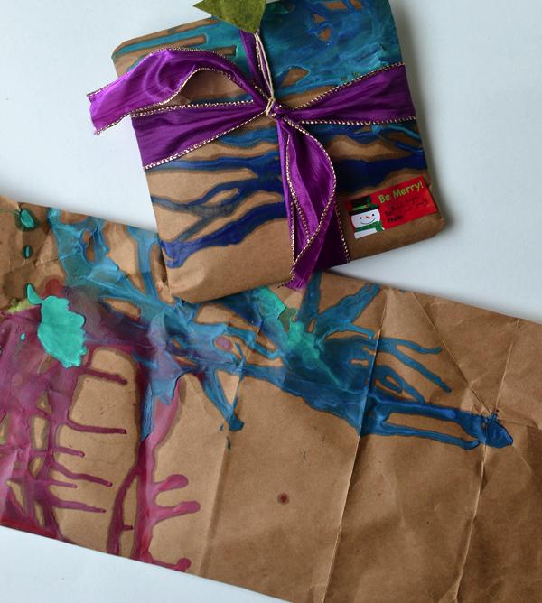 melted crayon DIY gift wrap