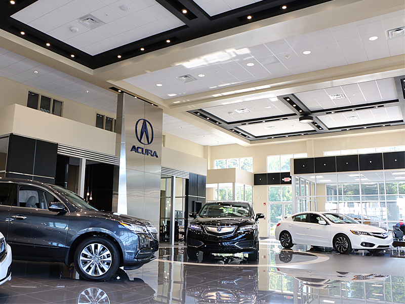 Recently renovated showroom at Smail Acura in Greensburg PA