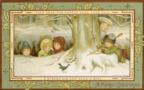 Five children playing in the snow  one of them is eyeing a small bird with a crossbow