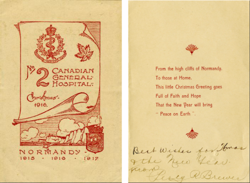 Front and inside of postcard with red drawings and verse