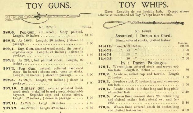 A catalogue list of toy guns and toy whips