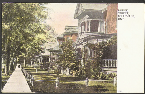Postcard of houses on a tree lined street