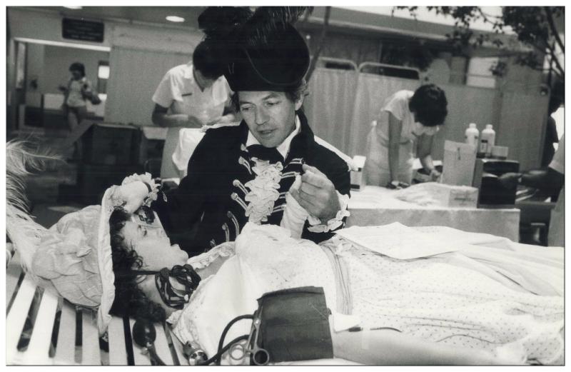 Joe Cote and Maureen Sandler donating blood as John Graves Simcoe and Elizabeth Posthuma Simcoe