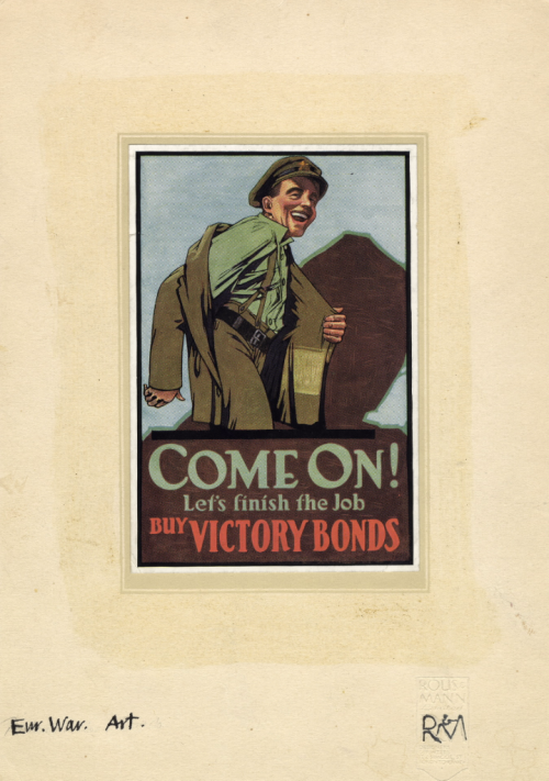 Poster in a frame, with a young man putting on uniform and reading Come On! Let's Finish the Job - Buy Victory Bonds Poster 1919