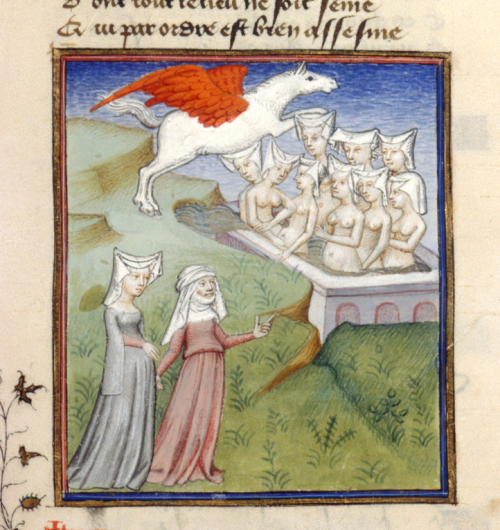 A detail from a manuscript of Christine de Pizan's The Book of the Queen, showing an illustration of Christine and the Sybil encountering the Nine Muses.